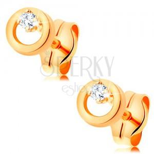 Ohrstecker aus 585 Gelbgold - glitzernder klarer Diamant in kleinem Kreis