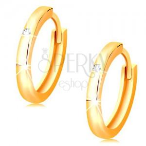 Ohrringe in 14K Gelbgold - kleine Creolen mit klarem Zirkonia