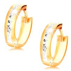 Creolen aus 14K Gold - glänzende Kreise mit Verzierung und Weißgold