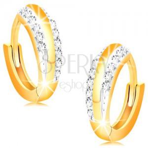 Creolen aus 14K Gold - glänzende Kreise mit klaren Zirkonialinien