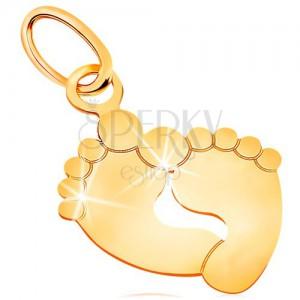 Anhänger aus 585 Gelbgold - zwei Fußstapfen, glatt und glänzend