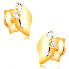 Diamantohrstecker aus 14K Gelbgold - zwei klare Brillanten, glänzendes Blättchen