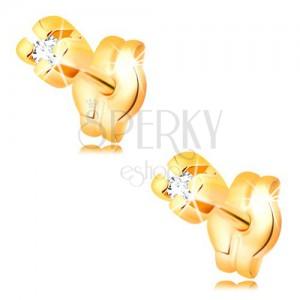 Ohrstecker aus 14K Gelbgold - runder klarer Brillant, 1,25 mm
