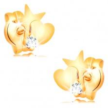 Goldene 585 Diamantohrstecker - Stern und Herz, runder klarer Brillant