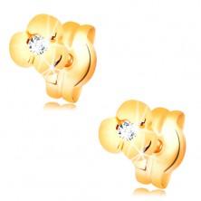 585 Goldohrstecker - glänzende Blume mit klarem Brillanten