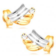 Goldene 14K Brillantohrstecker - glänzende zweifarbige Bogen, klarer Diamant