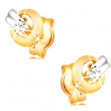 Ohrstecker aus 14K Gold - funkelnder klarer Diamant im Kreis, Weißgoldstreifen