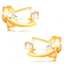 Diamantohrstecker aus 14K Gold - zweifarbige Dreiecke, klarer Brillant