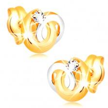 14K Goldohrstecker - zweifarbige verflochtene Kreise, glitzernder klarer Brillant