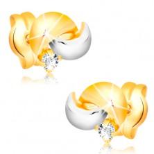 14K Goldohrstecker mit glanzvollem Diamanten, zweifarbige Bogen