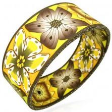 Fimo Armband - breit, herbstliche Blumen