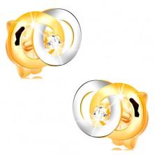 Diamantohrstecker aus 14K Gold - zwei verbundene Kreise, klarer Brillant