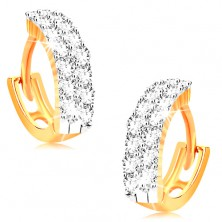 Ohrringe aus 14K Gelbgold - kleine Creolen mit klaren Zirkonia besetzt