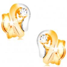 14K Goldohrstecker, zweifarbige Tropfenkontur mit glitzerndem Diamanten