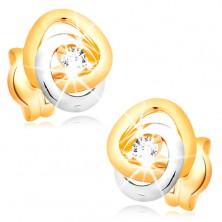 14K Goldohrstecker - zweifarbige verbundene Kreise, glitzernder klarer Brillant
