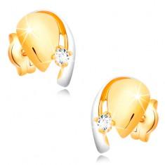 Goldene 14K Diamantohrstecker, zweifarbiger Tropfen mit glitzerndem Brilannten