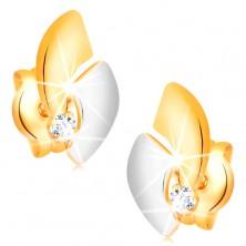 14K Goldohrstecker mit funkelndem Diamanten, zweifarbige Bogen