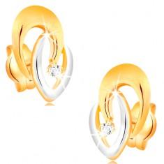 Ohrstecker aus 14K Gold - verbundene zweifarbige Hufeisen, klarer Brillant