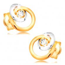 Ohrstecker aus 585 Gold - glitzernder klarer Brillant, großer und kleiner Kreis