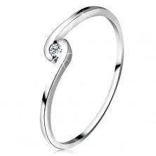 Ring aus 14K Weißgold - runder klarer Zirkonia in gebogener Ringschiene