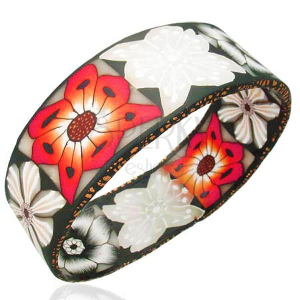 Breites Armband Fimo mit schwarzer Basis und weiß-roten Blumen
