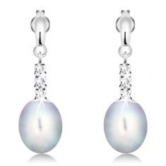 14K Goldohrstecker - glänzender Streifen, drei klare Zirkonia, ovale graue Perle