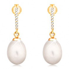 14K Goldohrstecker - hängende ovale weiße Perle, Zirkoniabogen