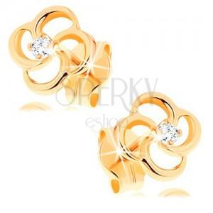 Brillantohrstecker aus 14K Gelbgold - Blume mit klarem Diamanten