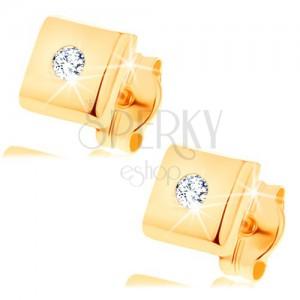 Brillantohrstecker aus 14K Gelbgold - glänzendes Quadrat mit klarem Diamanten