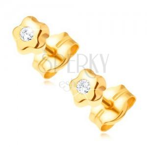 585 Gelbgoldohrstecker - winziges Blümchen mit klarem funkelndem Diamanten