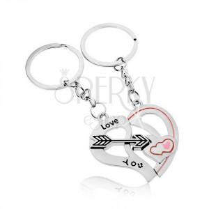 Schlüsselanhänger für zwei, silberfarbener Edelstahl, Herzhälften und Pfeil