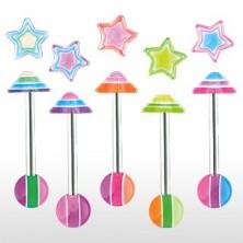 Zungenpiercing - mehrfarbiger Stern
