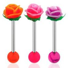 Zungenpiercing, Hantel aus 316L Stahl, Acrylkugel und UV Rose