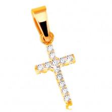 585 Gelbgoldanhänger - kleines lateinisches Kreuz, mit Zirkonia an beiden Seiten