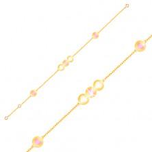 Armkette aus 9K Gelbgold - rosa und weiße Herzen in Kreisen