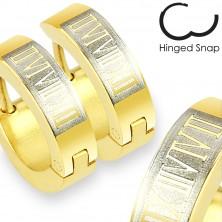316L Stahl Ohrringe - Kreise in einem goldenen Farbton, Rechteck und römische Zahlen
