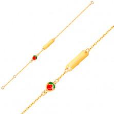 Armkette aus 9K Gelbgold - glanzvolles Plättchen, emaillierter Apfel