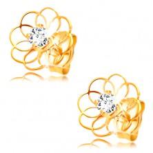Diamantohrringe aus 14K Gelbgold - Blumenkontur mit Briallanten