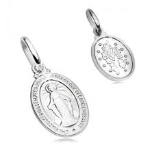 14K Weißgoldanhänger - ovales Medaillon mit Jungfrau Maria