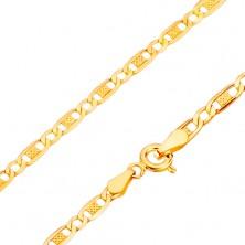 14K Goldhalskette,  ovale Glieder, leeres Glied mit Gitter, 450 mm
