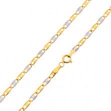Zweifarbige 14K Goldkette, glattes Glied und Sonnenstrahlenmuster, 450 mm