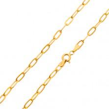 Armband aus 585 Gelbgold - glatte und gerillte ovale Glieder, 200 mm