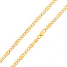 Goldkette - drei ovalförmige Augen, Glied mit griechischem Schlüssel, 500 mm