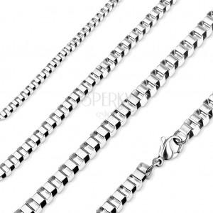 Halskette aus 316L Stahl, glänzende kantige Glieder, silberne Farbe