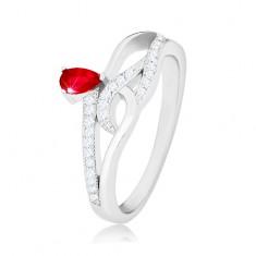 925 Silberring, rote Zirkoniaträne, gewellte Zirkonialinien