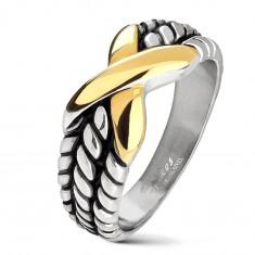 Silberfarbener Edelstahltrauring, Verzierung an Ringschiene, goldfarbenes X