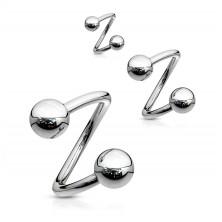 Stahl Augenbrauen Piercing - Spirale in silberner Farbe und Kugel, 1,6 mm