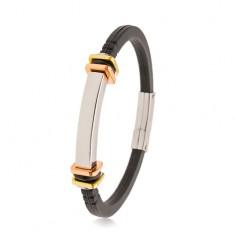 Schwarzes Armband aus Gummi, Edelstahlplättchen, Quadrate kupfer- und goldfarben