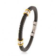 Gummiarmband in schwarzer Farbe, schmuckvoll gerillt, silber- und goldfarbene Perlen