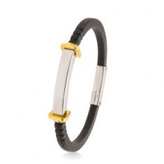 Armband aus schwarzem Gummi, glattes Stahlplättchen, Quadrate und Kreise